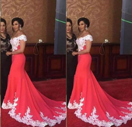 $enCountryForm.capitalKeyWord NZ - Mermaid Evening Gown White Lace V Neck Prom Dresses Sweep Train Party Cocktail Gowns Cheap Price Trumpet Dress Custom Made