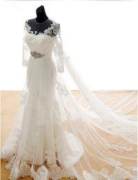 $enCountryForm.capitalKeyWord Canada - Transparent Mermaid Wedding Dresses Long Sleeve Diamonds Belt Lace Tulle Chapel Train Sheer Bridal Gowns Custom Size