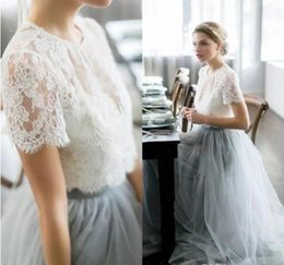 cheap short dresses for weddings 2019 - Plus Size 2019 Country Cheap Two Pieces Grey Bridesmaid Dresses for Wedding Long Tulle A-Line Lace Formal Dresses Party