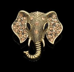 Pins Big Canada - Wholesale- Fashionable Brooches Gold Silver Ox Crystal Rhinestone Vintage Big Elephant Wedding Collar Brooches Hijab Pins For Women M2102
