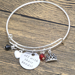 China 12pcs lot Alice in Wonderland Inspired bracelet Villain Red Queen of Hearts Off With Their Heads Silver tone crystal bangle cheap wonderland bracelet suppliers