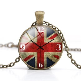 Wholesale Wall Clock American flag Pendant Necklaces Crystal Glass Cabochon Dome Handmade DIY Jewelry for women and men Children Gift