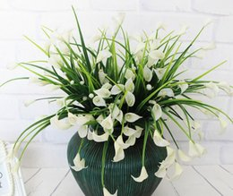 Fake Lilies Flowers Australia - Artificial Mini lily silk flower simulation calla flower bouquet fake grass Aquatic plants for new home room decoration washable G489