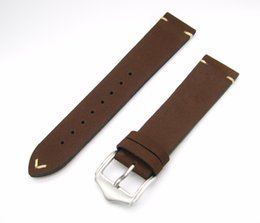 bracelet pin clasp silver NZ - Wholesale- 20 22mm 2016 Men Women Genuine Cowhide Suede Leather Dark Brown Luxury watchband Strap Belt Silver Polished Pin Buckle Best Gift