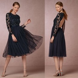 2019 Navy Blue Bridesmaids Dresses Jewel Long Sleeve Sexy Open Back Sequins  Beaded Short Knee Length Cheap Bridesmaid Dresses c0902362a01d