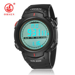 Green Plastic Army Men Canada - NEW OHSEN Digital Relogio Masculio Mans Wristwatches Army Red Fashion Rubber Strap Alarm Date LCD 50M Diving Running Sports Male Watch Gifts