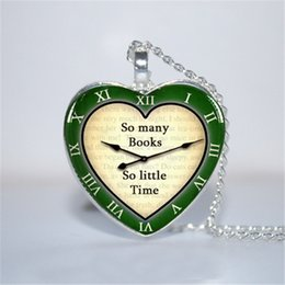 book chain 2019 - 10pcs lot So Many Books So Little Time Green Pendant, Book Lover, Librarian Necklace Glass Photo Cabochon Necklace disco