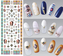 Ongles Conçus Pas Cher-Vente en gros - DS263 Design Water Transfer Nails Art Sticker Indian Style Vintage Cool Nail Wraps Sticker Watermark Fingernails Decals