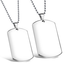 army dog chain NZ - Brand New High Quality One pair Stainless Steel Plain Dog Tag Army Pendant Couple Necklace Silver Cool