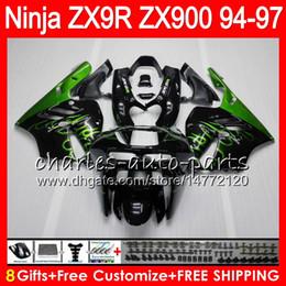 KawasaKi ninja zx9r 1997 online shopping - 8Gifts Colors For KAWASAKI NINJA ZX R ZX9R CC HM3 green flames ZX R ZX900 ZX900C ZX R Fairing kit