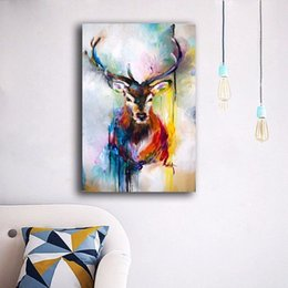 $enCountryForm.capitalKeyWord Canada - Canvas Art Modern Abstract Colorful Elk Deer Oil Painting Print on Canvas Wall Decor Canvas Poster Pictures Painting for Living Room