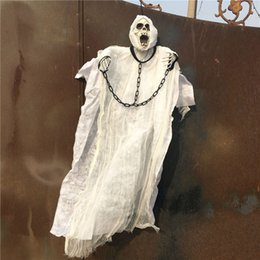 Light up eyes haLLoween online shopping - Novelty Inch Cm Tall White Halloween Decoration Hanging Ghost With Chain Light Up Eyes Sound And Sensor For Halloween Props