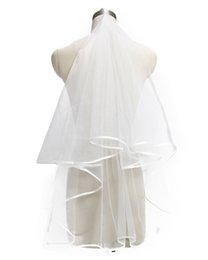Barato Véu Da Borda Da Fita Do Laço-HarveyBridal Women's White Ivory Bridal Veils One Layer Ribbon Edge Véu de casamento Lace Edge véu longo