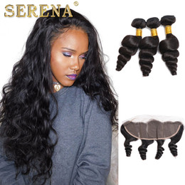 loose wave bundles closures NZ - 7A Ear To Ear 13x4 Lace Frontal Closure With Peruvian Loose Wave 3 Bundles With Frontal Closure Bleached Knots And Bundle Deals human