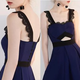 Vestido De Encaje Negro Botón Baratos-Sexy A Line Dark Navy Vestidos Evening Wear 2017 Negro Lace Button Modern Homecoming Cocktail Party Formal corto Prom Vestidos más el tamaño