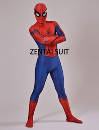Costume Pour Homme Et Femme Pour Homme Zentai Pas Cher-Spandex 3D Guerre Civile Spiderman Costume Halloween Costume Cosplay Guerre Civile Spider-man Costume Super Héros Adulte / Enfants Zentai Suit