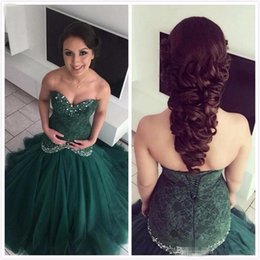Barato Sweetheart Corsets Desossing-2017 Hunter Green Backless árabe Sereia Prom vestidos querida com cristais frisados ​​Lace Appliques Corset Back Vestidos De Fiesta Evening Gown