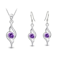 making kit UK - Wholesale trade NEW pendant Necklace earring Jewelry Sterling Silver Set 925 diamond suit kit water made in Europe