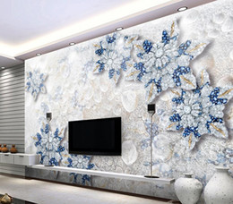 Crystal Diamond Fabrics Australia - 3D Stereo Crystal Diamond Jewelry Flower TV Wall Background mural 3d wallpaper 3d wall papers for tv backdrop