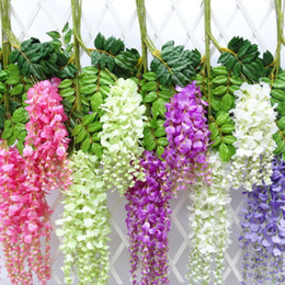 wisteria vine 110cm long artificial flower decoration silk simulation rattan wedding plant bouquet decorative decor bridal christmas hall christmas hall