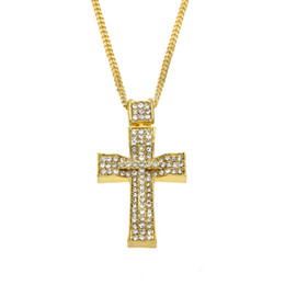 Chinese  Men Hip Hop Gold Double Cross Pendant Full Iced Out Rhinestone Hollow Vintage Crystal Crucifix Necklace With Free Chain manufacturers