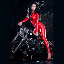 red latex jumpsuit Canada - Hot Sale Women Latex Costume Bodysuit Sexy Red PVC Leather Costume Latex Bodysuit Jumpsuit Wet Look Catsuit Night Clubwear