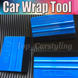 roofing tools Canada - 3m blue squeege car wrap tool blue squeegee 3d carbon fiber wrapping scraper tools with size 7.5x 10 cm DHL 200pcs  Lot