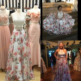 Barato Imagens De Dance Dress-Print Floral Prom Dresses 2017 com Lace Top e Zipper Back Imagem real Organza 2 Pieces Ring Dance Dress Plus Size