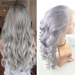 $enCountryForm.capitalKeyWord Canada - Free Part Pure Color Slivery #Grey Virgin Human Lace Wig With Baby Hair Glueless Full Lace Wig Bleached Knot