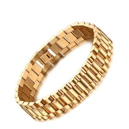 chain link watch band NZ - 15mm Luxury Men Watch Band Bracelet Gold Plated Stainless Steel Strap Links Cuff Bangles Jewelry Gift 22CM BR-201