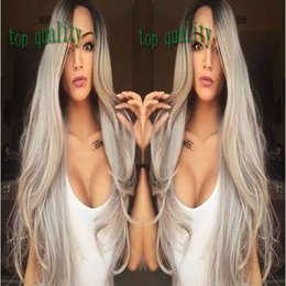 Wig Grey NZ - Long Natural Straight Dark Root Ombre Grey Lace Front Wigs High Quality Synthetic Lace Wigs Heat Resistant With Baby Hair For Fashion Women