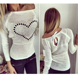 Tricot Des Nuances Pas Cher-Vente en gros-2016 Nouvelle Arrivée Sweater Femmes Occasionnel Loose Heart Pattern Impression Crew Neck Long Sleeve Thin Sweater Femme Pull Knitted Pulls