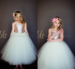 Vestidos Hermosos Para Barato Baratos-2017 Sparkly Rose Gold Sequins Puffy Little Princesa Flower Girls 'Vestidos Hermosa Tutu Gown Personalizado Hacer baratos Little Girl Formal Dress
