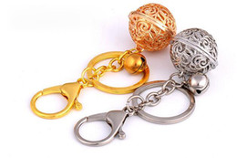 keys bell UK - Madam style bell key chain Hollow out delicate bell key ring Gold silver bag accessories pendant