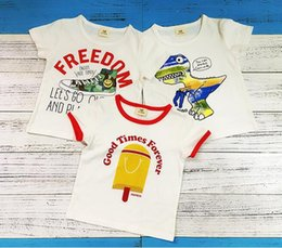 Bébé Imprimé Animal Bébé Pas Cher-Baby Cartoon T-shirts 2017 Summer Cotton Short Sleeve Tops Dinosaur Freedom Shoes Icecream Printed Boys Vêtements Tees Vêtements pour bébé Tee-shirt pour enfants