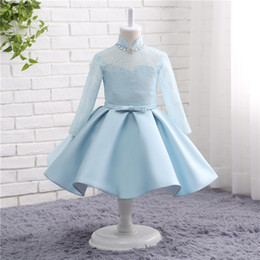 $enCountryForm.capitalKeyWord Canada - Lovely Really Photo In Stock High Neck Long Sleeve Lace And Satin Little Girl Prom Dresses Beading Bow Crystal Robe Fille 15816