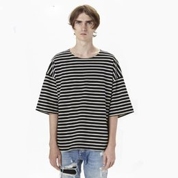 6c290ade0625 Fashion Men Oversize Brand Chris Brown Kanye West Justin bieber Fear of god  Striped half T-shirt Top Tee shirt Cooo Coll
