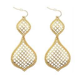 $enCountryForm.capitalKeyWord UK - Christmas Gift Gold Openwork Drop Earrings for Women Costume Jewelry Cutout Hollow Teardrop Dangle Earrings