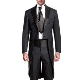 groom white tail tuxedo UK - Men's wedding suits swallow-tailed coat prom suits tuxedos fashion black mens wedding suits latest design the grooms tuxedos(jacket+pants)