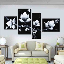 Shop black flower oil painting panels uk black flower oil painting hand painted oil wall art black white flowers bloom home decoration abstract floral oil painting on canvas 4pcs mightylinksfo
