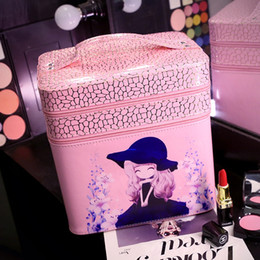 $enCountryForm.capitalKeyWord Canada - Wholesale- New 2017 Double Layer Women Cosmetic Bag Beauty Pattern Cosmetic Case PU Makeup Organizer Bags Ladies Make up Bag for Girls