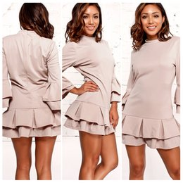 Barato Alperce De Cor Do Vestido-Womens Ladies Casual Fashion Outono Cor sólida Apricot Long Sleeved Fall Short Dress