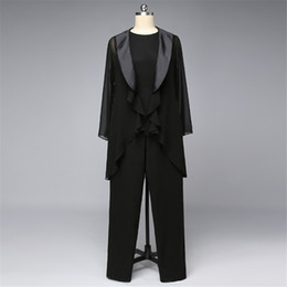formal suits for mother groom UK - Mother Of The Bride Groom Pant Suits With Jewel Neck Long Sleeves Jacket For Mothers Formal Occasion Party Evening Dresses Three Pieces