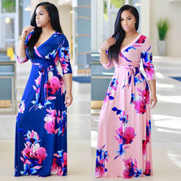 $enCountryForm.capitalKeyWord Canada - Womens Fashion V-neck Floral Printed Slim Long Maxi Dresses For Female Sexy Long Sleeve Bodycon Bandage Floor-Length Dress XL