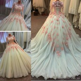 muslim wedding bridal train pictures NZ - Muslim Wedding Dresses With Long Train Sheer Middle East 3D-Floral Appliques Beaded Lace Bridal Gowns Ball Gown Long Sleeve Wedding Dress