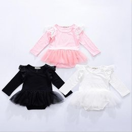 Barato Tutus Para Meninas Recém Nascidas-Roupa para crianças Ins Lace Girls Rompers Boys Fly Sleeve Jumpsuits Toddler Moda Onesies Newborn Princess Tutu Bodysuits Roupa de bebê B3203