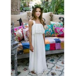 Bohemian Beach Wedding Dresses For Kids Chiffon Lace Floor Length Simple Flower Girl Dress Custom Made First Communion Wear