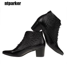 6.5 CM Heels British style Men Fashion boots Genuine Leather Pointed Toe Ankle boots Male elevator shoes, big size 46
