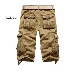 Venta al por mayor-Promoción 2016 Summer Calf-Length Cargo mens shorts Multibolsillo Solid Men Beach Shorts Capris