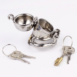 Barato Dispositivos De Bloqueio Do Pénis-Double Lock Design Chastity Masculino Dispositivo Aço Inoxidável Chastity Cage Metal Penis Bloqueio Chastity Penis Ring Sex Toys Para Homens